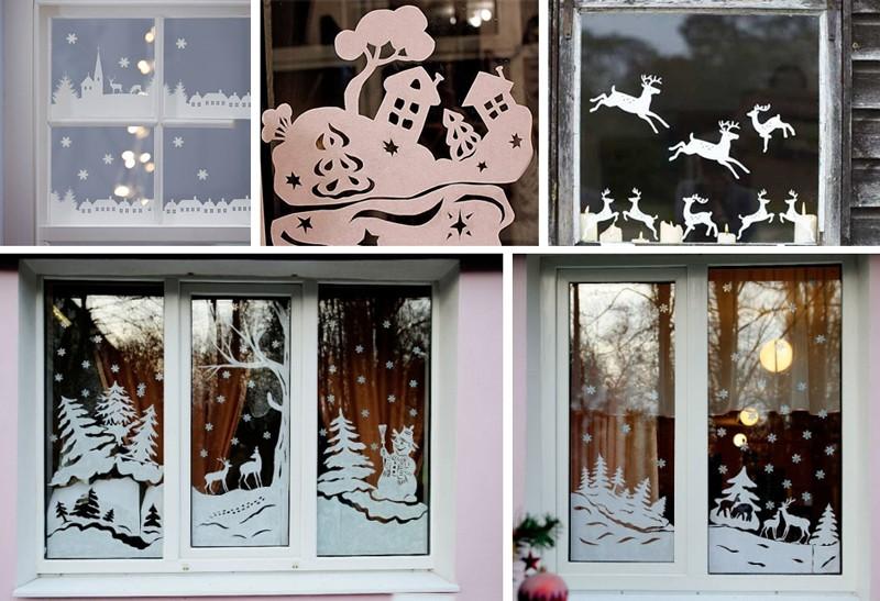 Новогодние вытынанки 2021 года для вырезания на окно