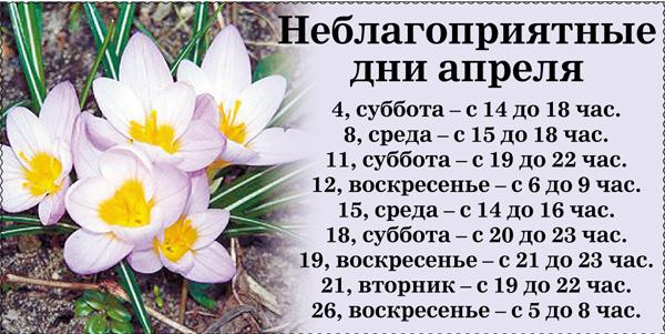 Посевной календарь на апрель 2020 года